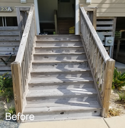Stain and Seal Stairs Before